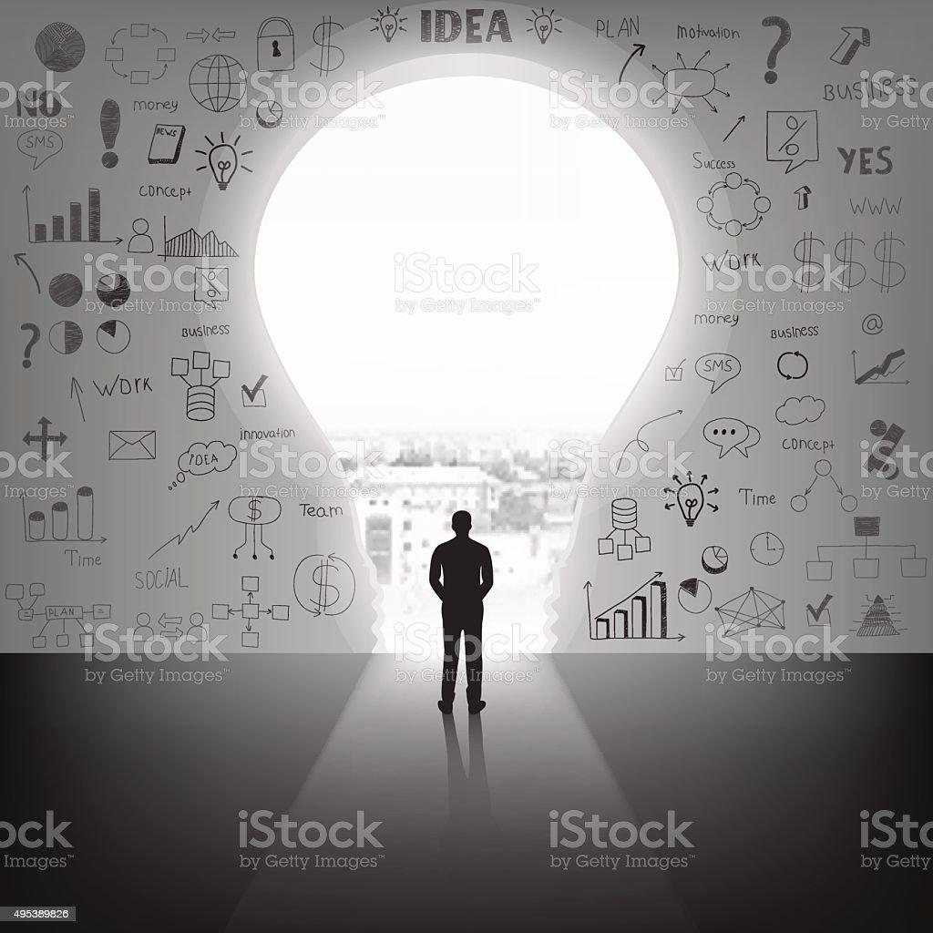 Businessman silhouette standing front of big idea lightbulb door. vector art illustration