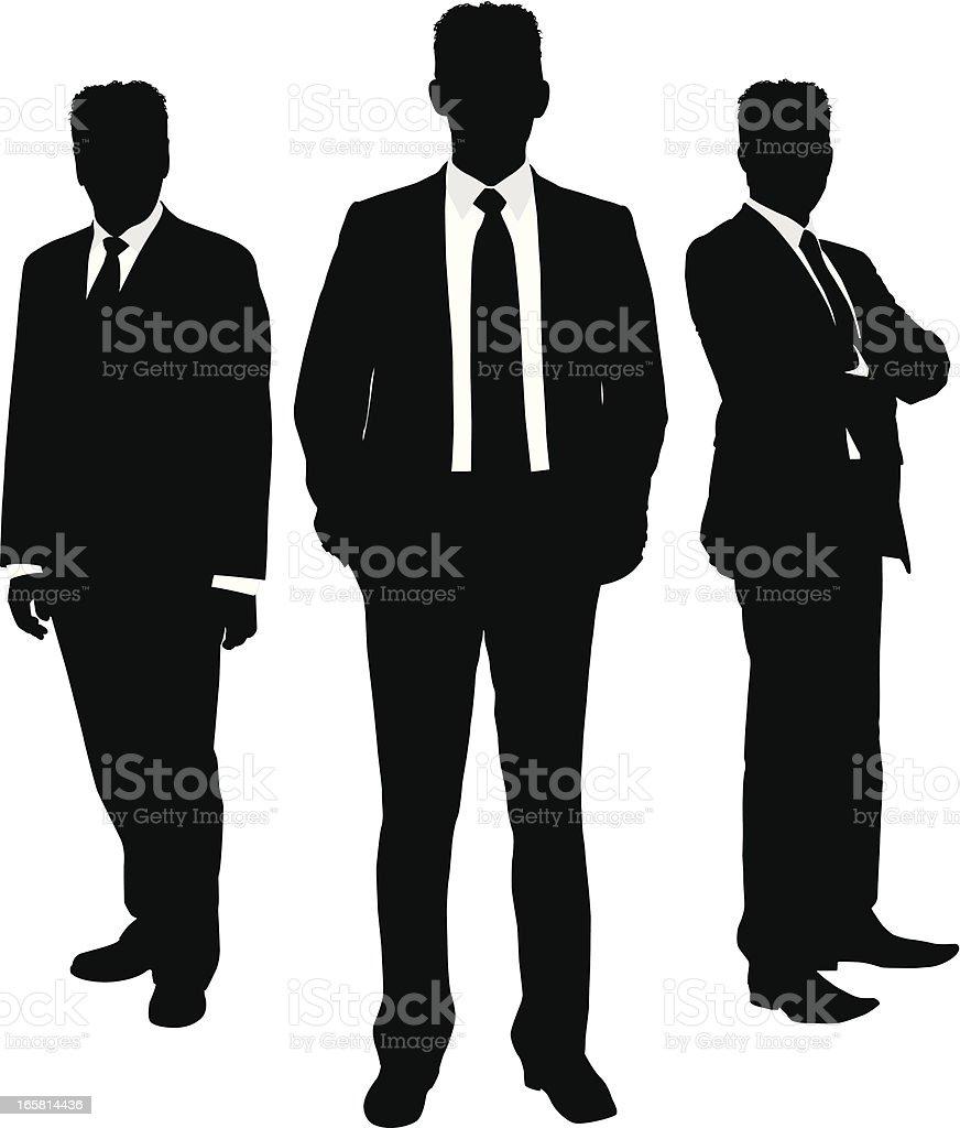 Businessman silhouette trio vector art illustration