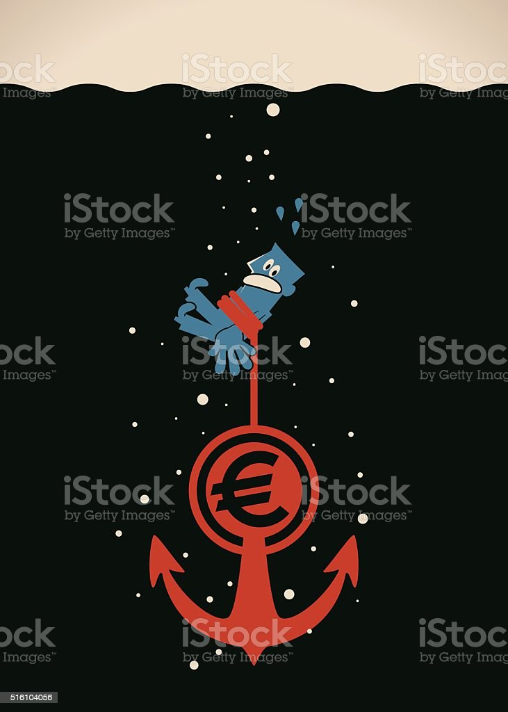 Businessman sinking with an Euro currency sign anchor vector art illustration
