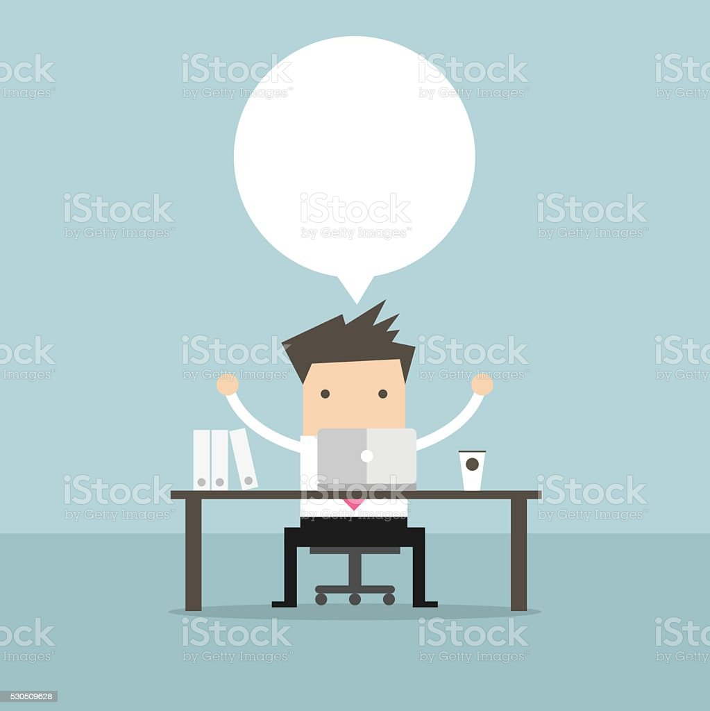 Businessman sitting at the table in front of the computer. vector art illustration