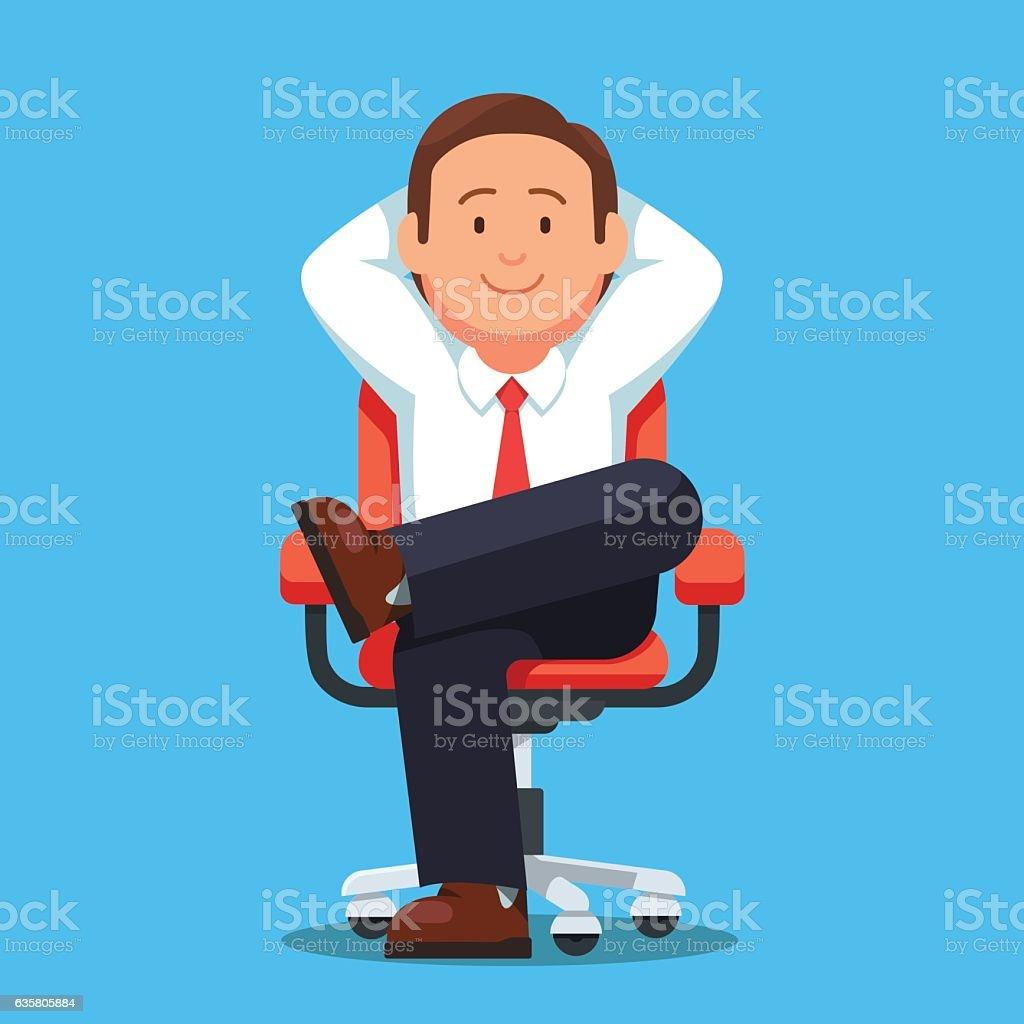 Businessman sitting calmly legs crossed vector art illustration
