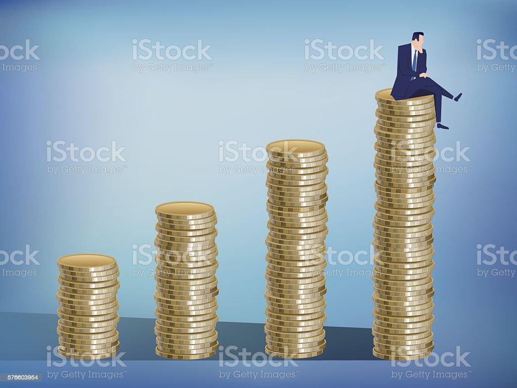 Businessman sitting on coins vector art illustration