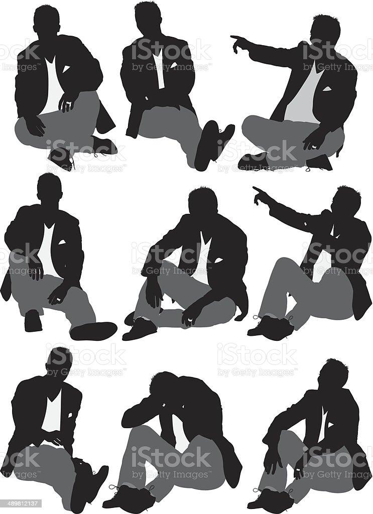 Businessman sitting vector art illustration