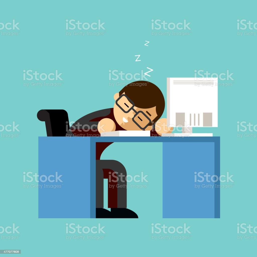Businessman sleeping on his office desk top vector art illustration