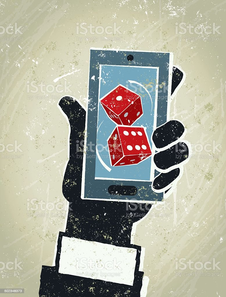 Businessman, Smart Phone and Dice. Online Gambling vector art illustration