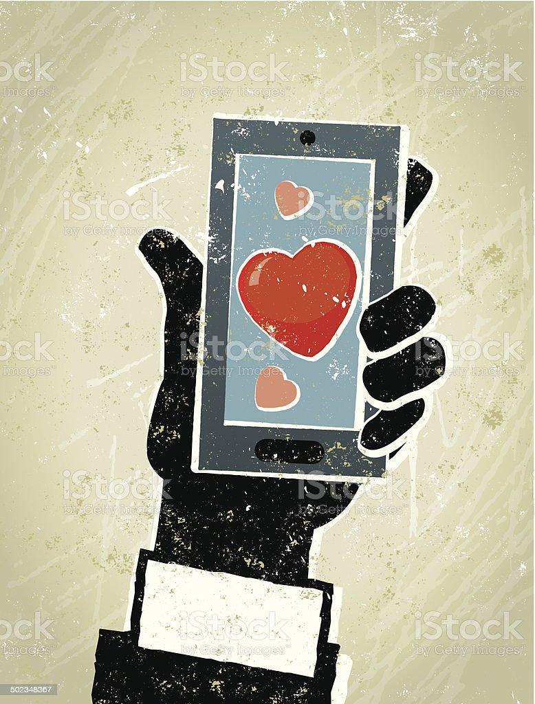 Businessman, Smart Phone and Heart. Online Dating vector art illustration