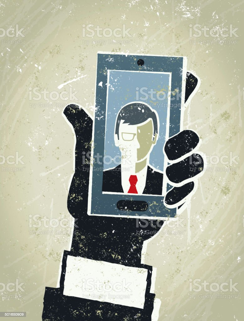 Businessman, Smart Phone and Man. Mobile Communication royalty-free stock vector art