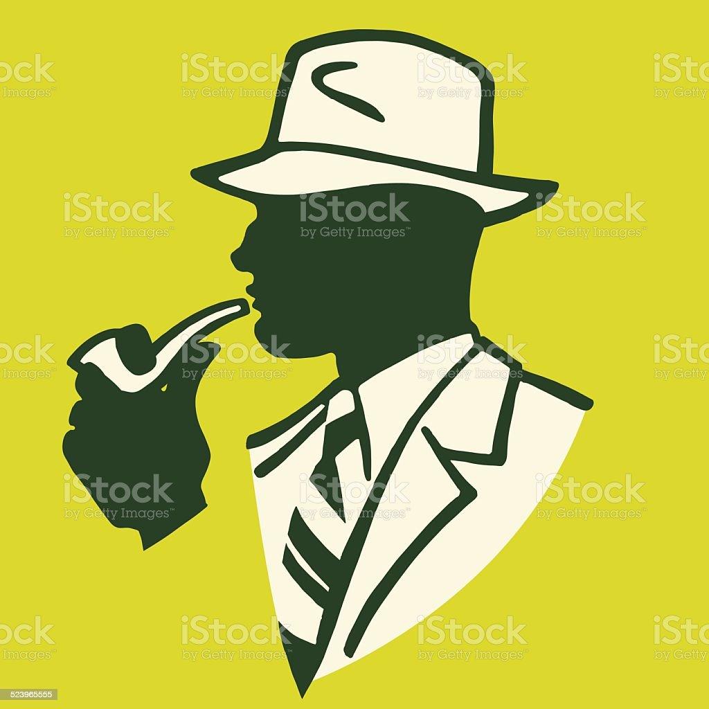 Businessman Smoking a Pipe vector art illustration
