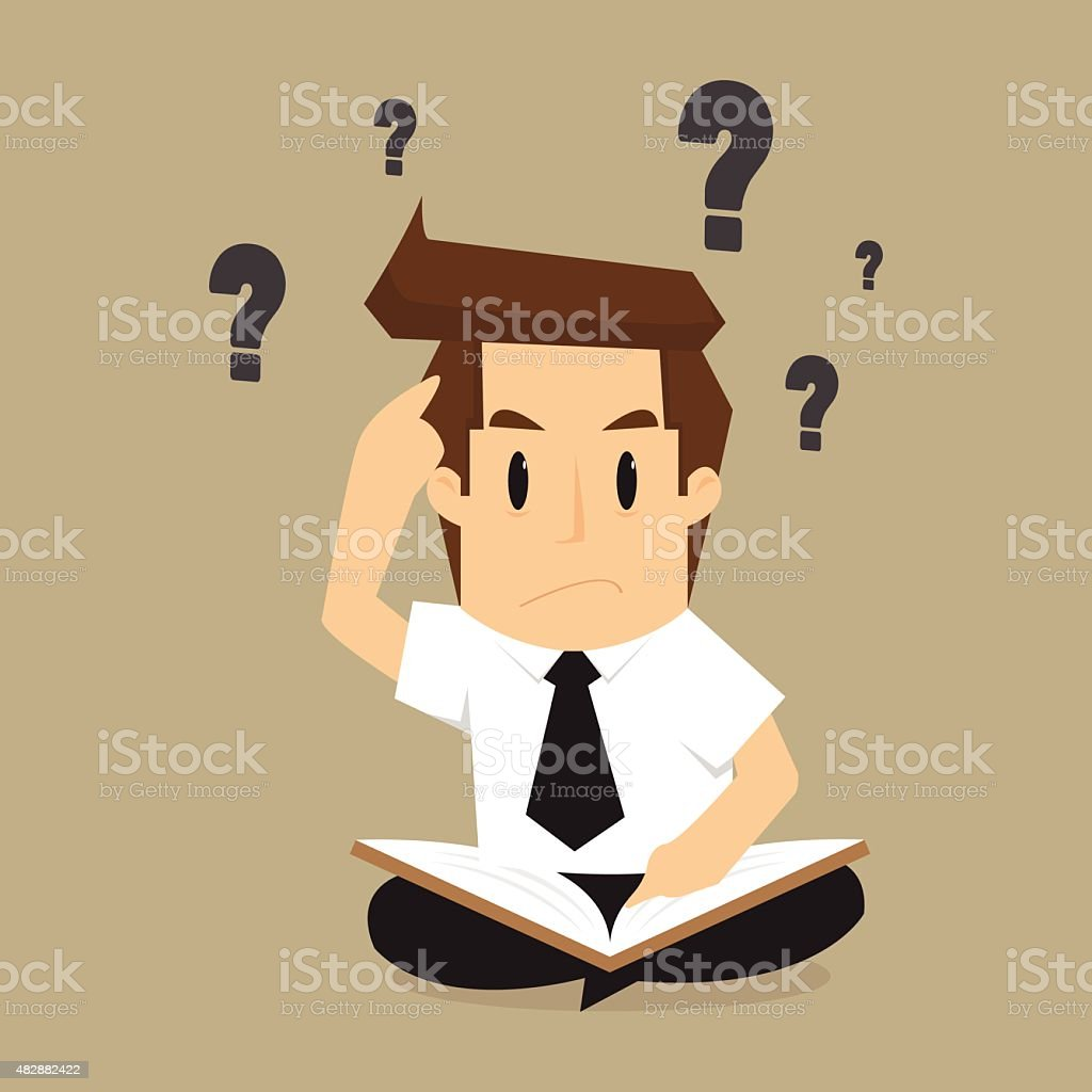 businessman solving, find information from books to the problem vector art illustration