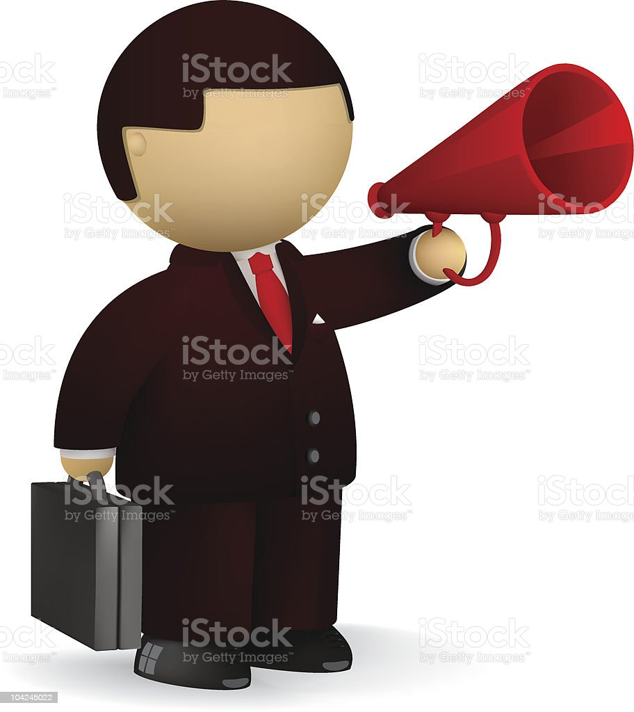 Businessman speaking into the megaphone royalty-free stock vector art