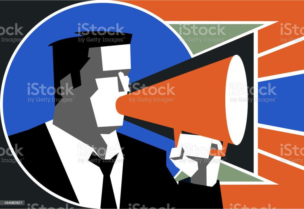Businessman speaking on megaphone vector art illustration