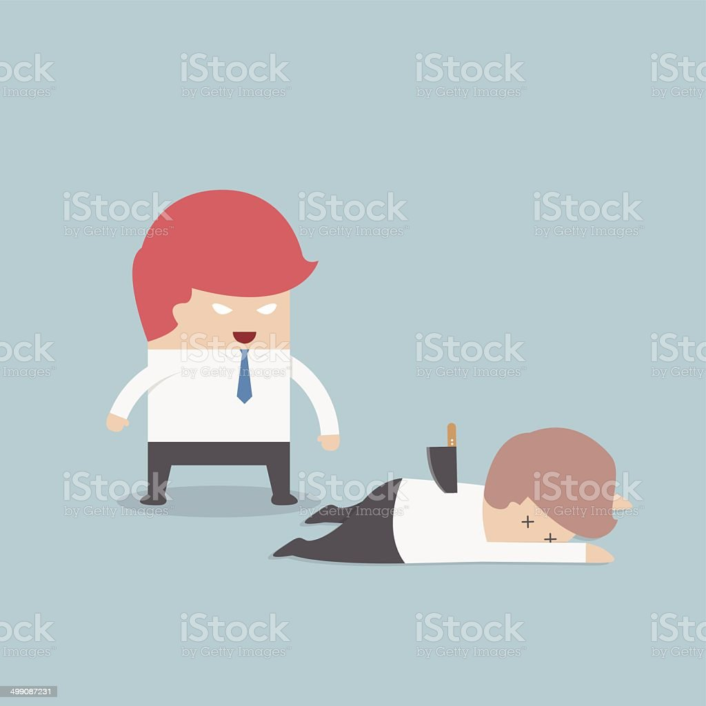 Businessman stabbed his friend in the back vector art illustration