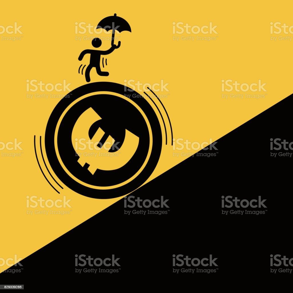 Businessman staged acrobatics on the euro coin vector art illustration