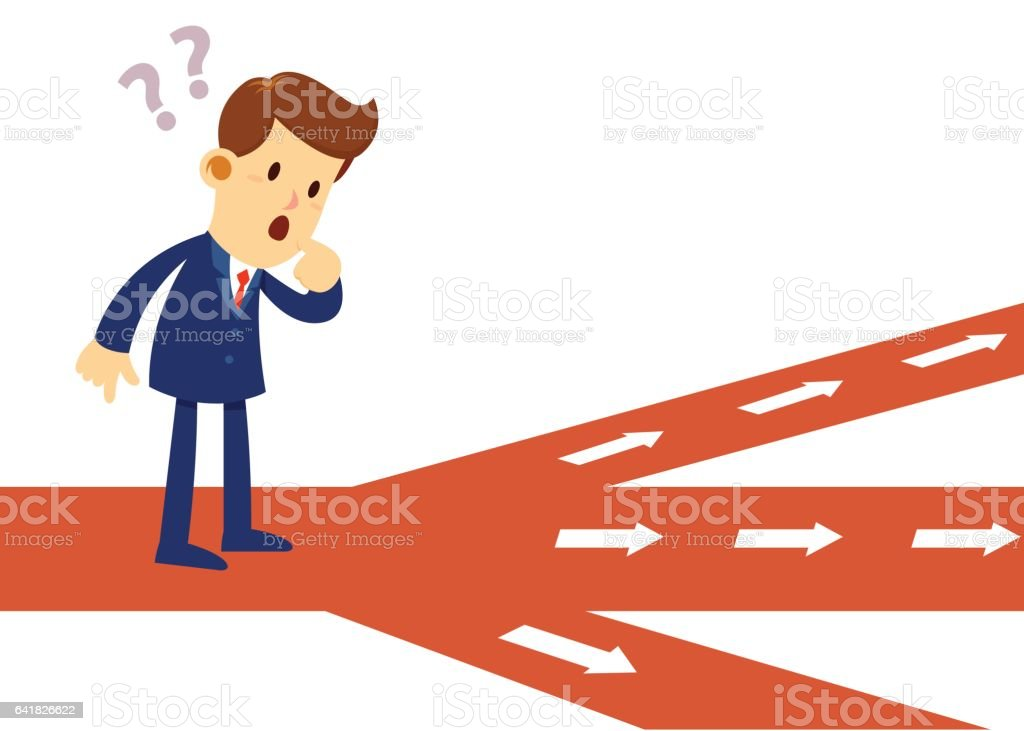 Businessman Stand at Crossroad vector art illustration