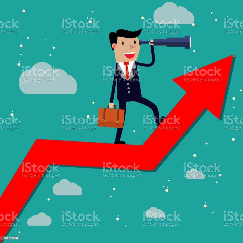 Businessman stand on arrow graph vector art illustration