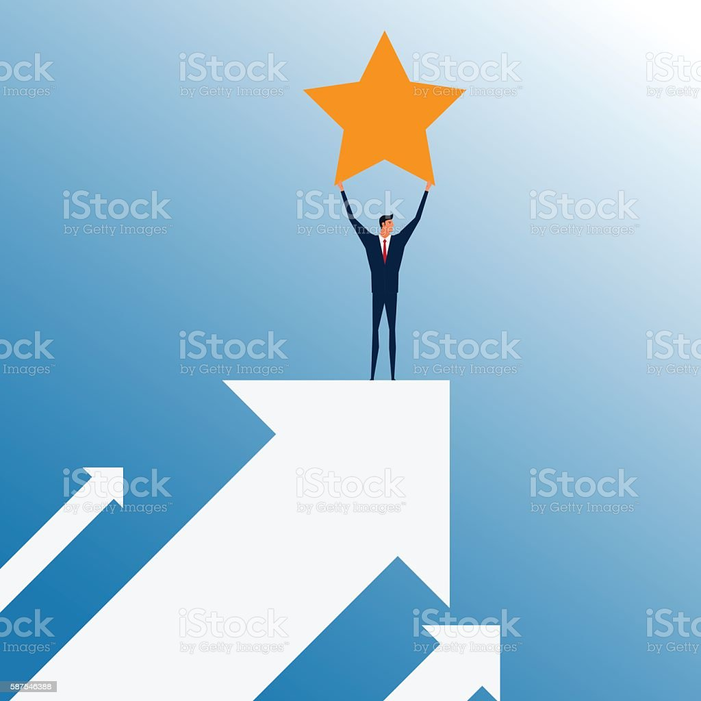 Businessman stand on top of graph arrow and holding star. vector art illustration