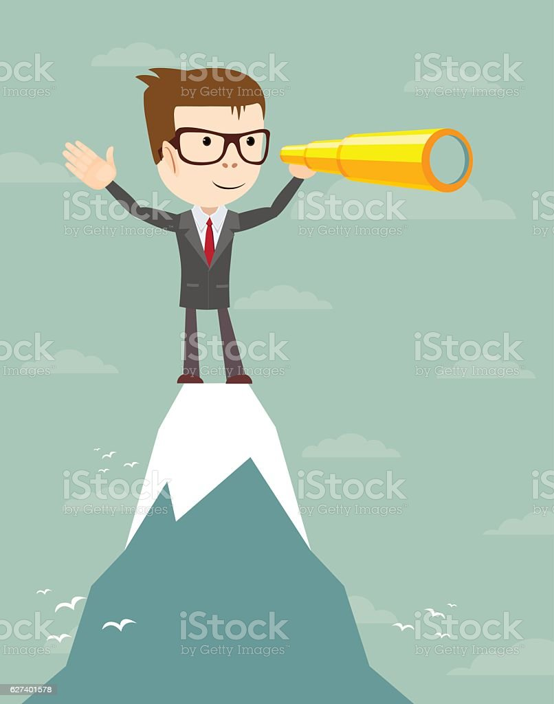 Businessman stand on top of mountain looking for success. vector art illustration
