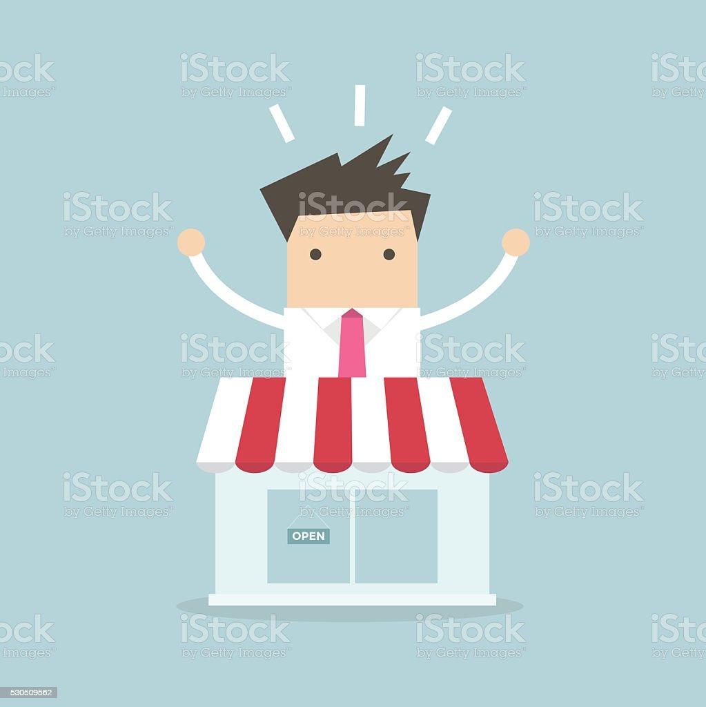 Businessman standing behind the shop vector art illustration