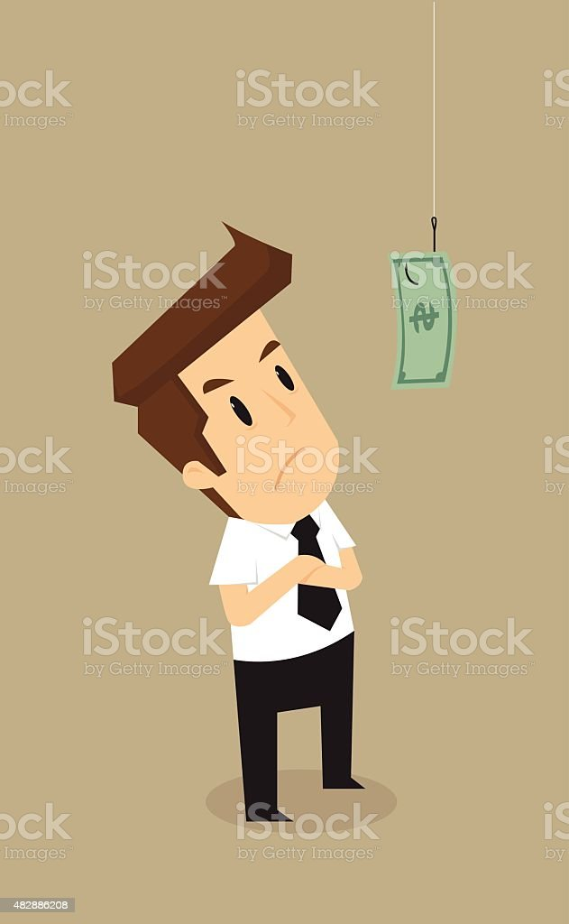 Businessman standing hook with money as bait vector art illustration