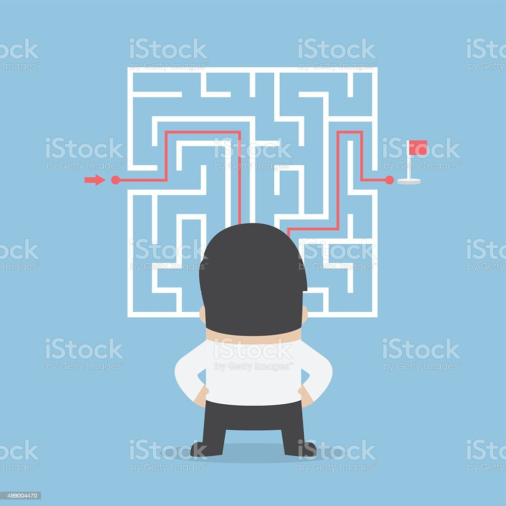 Businessman standing in front of a maze with a solution vector art illustration