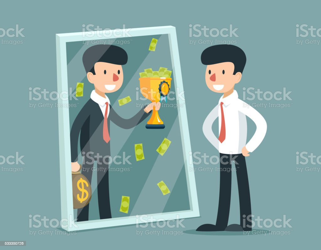 Businessman standing in front of mirror and see himself vector art illustration