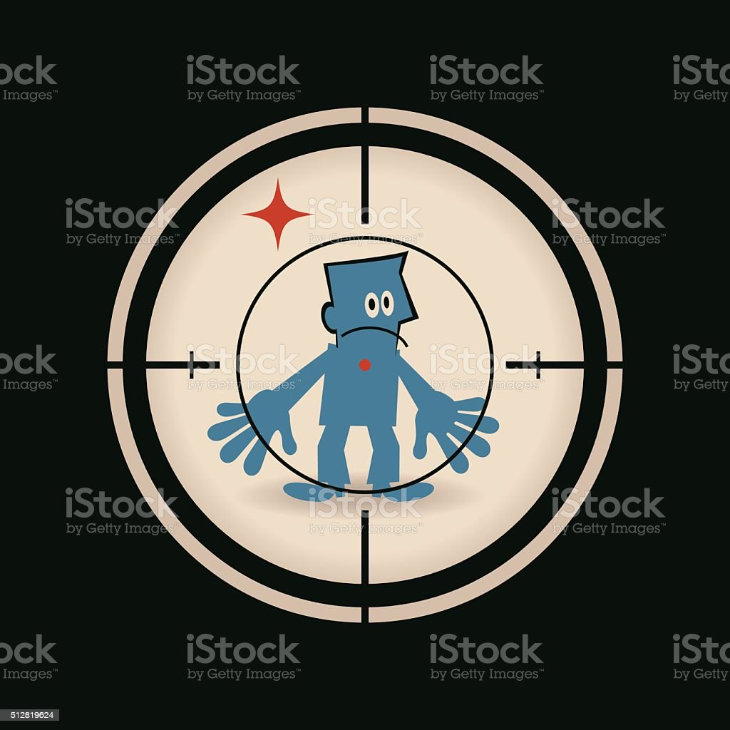 Businessman standing in the crosshairs center rifle (gun) sight vector art illustration