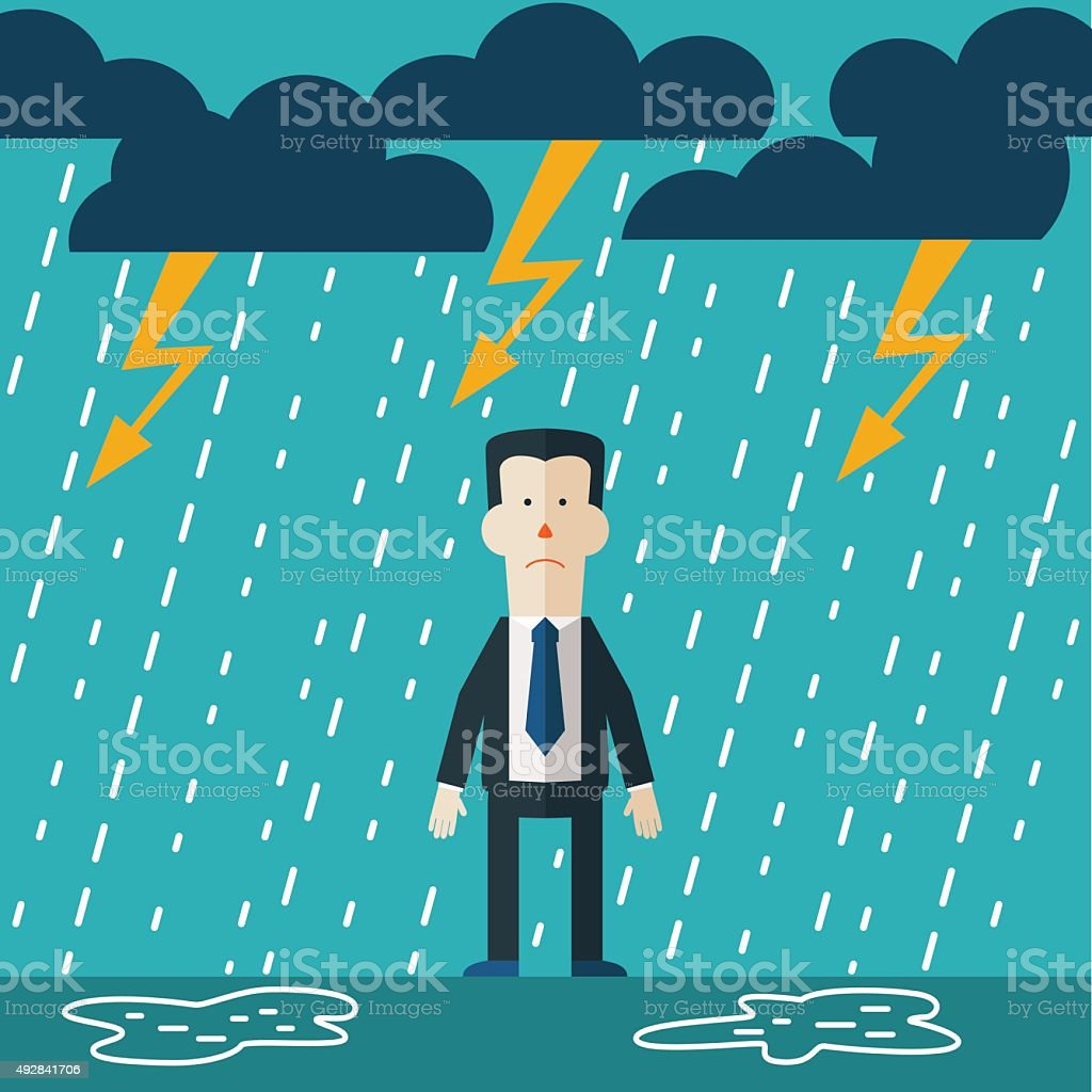 Businessman standing in the rain. Vector concept of businessman fail vector art illustration
