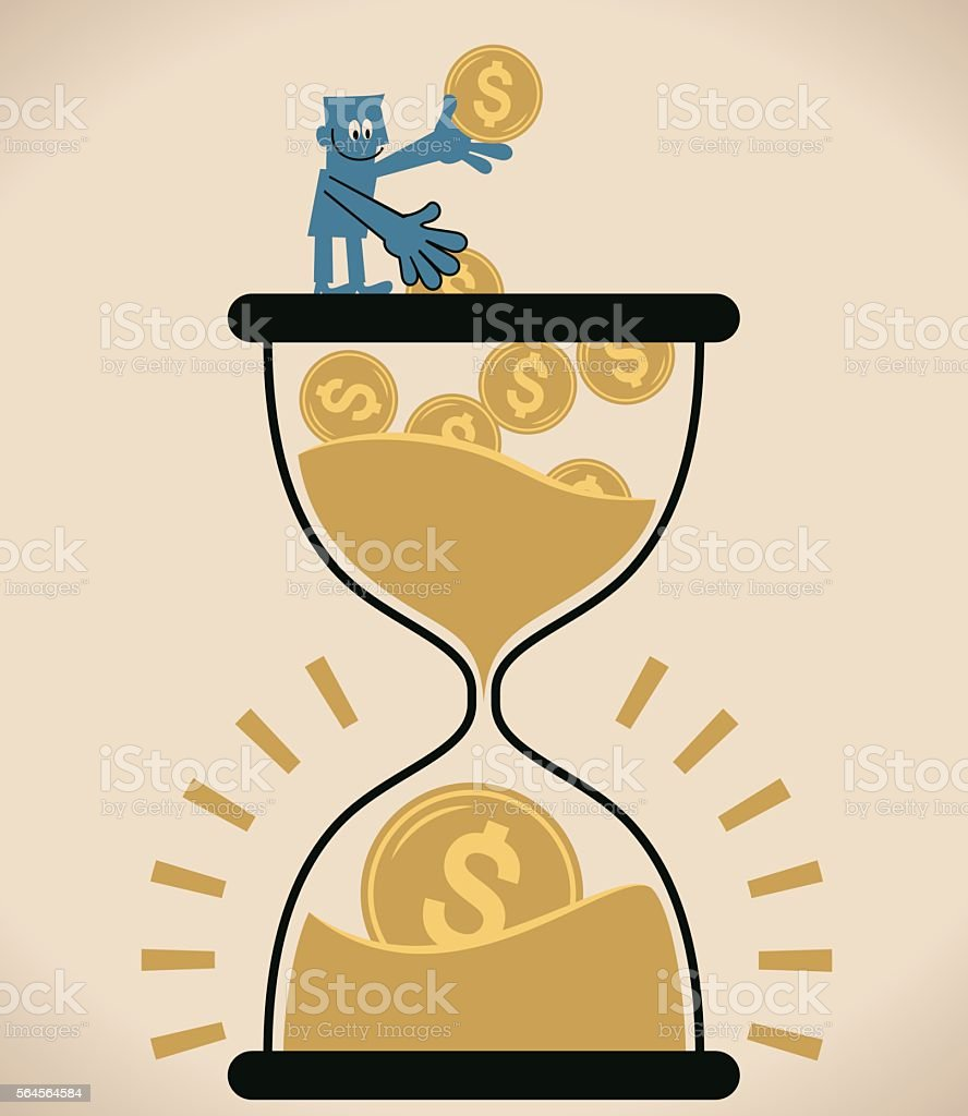 Businessman standing on a hourglass, putting coin into sand clock vector art illustration