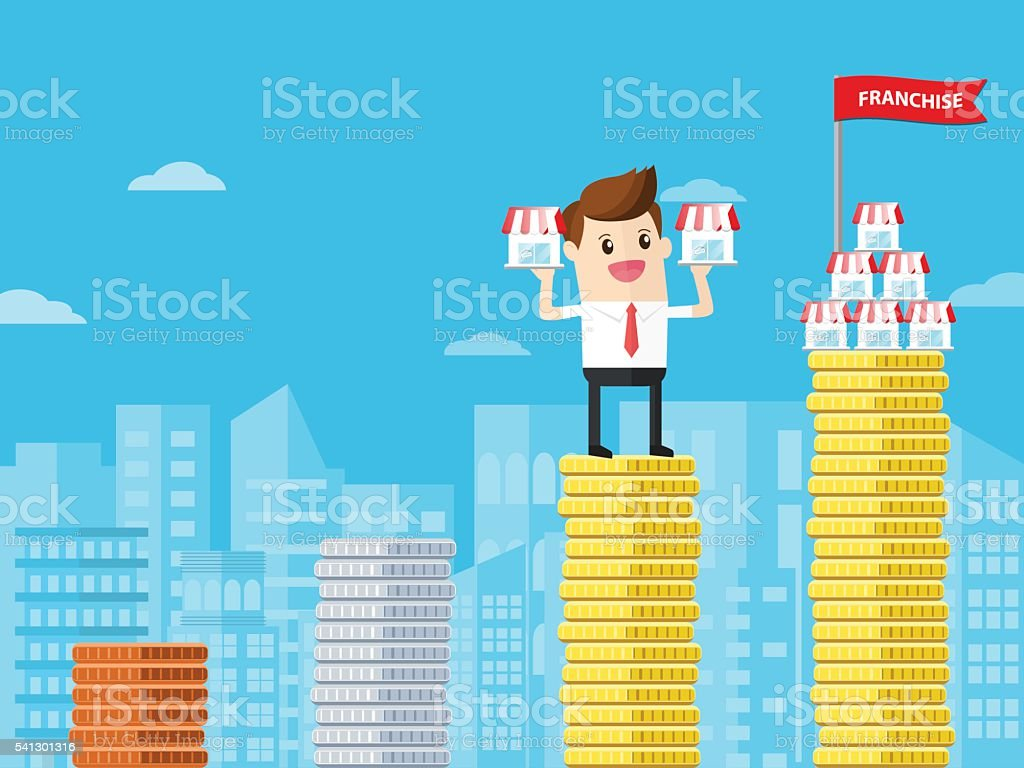 businessman standing on bar graph of coins. franchising helps successful vector art illustration