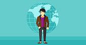 Businessman standing on globe background