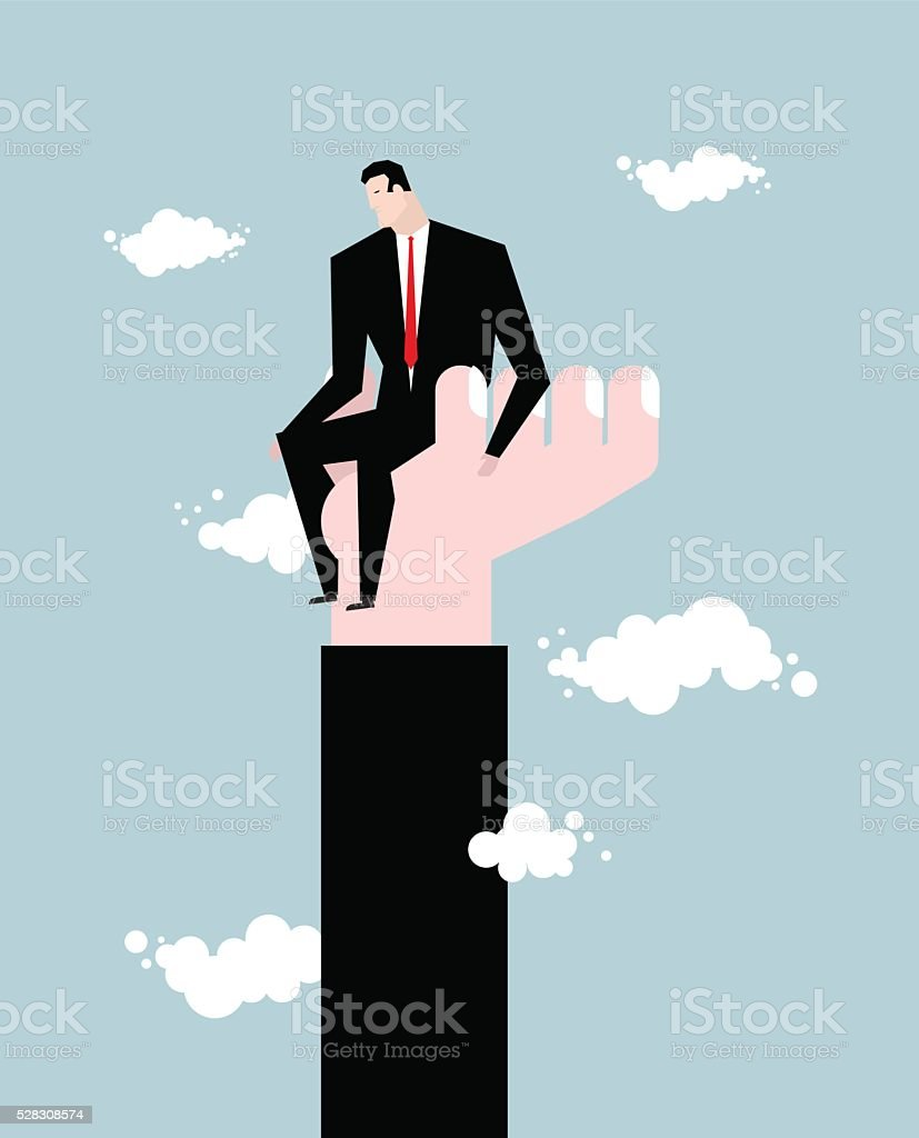 Businessman  standing on hand. Rise of man. Help from boss. vector art illustration