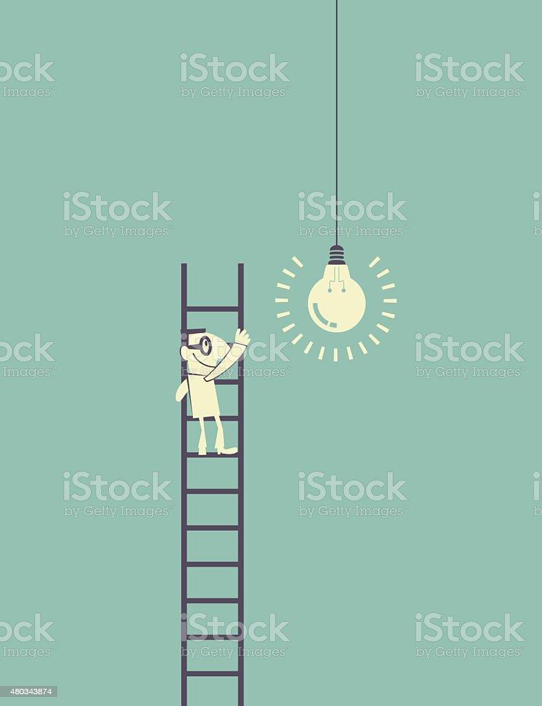 Businessman standing (climbing) on ladder catching a idea light bulb vector art illustration