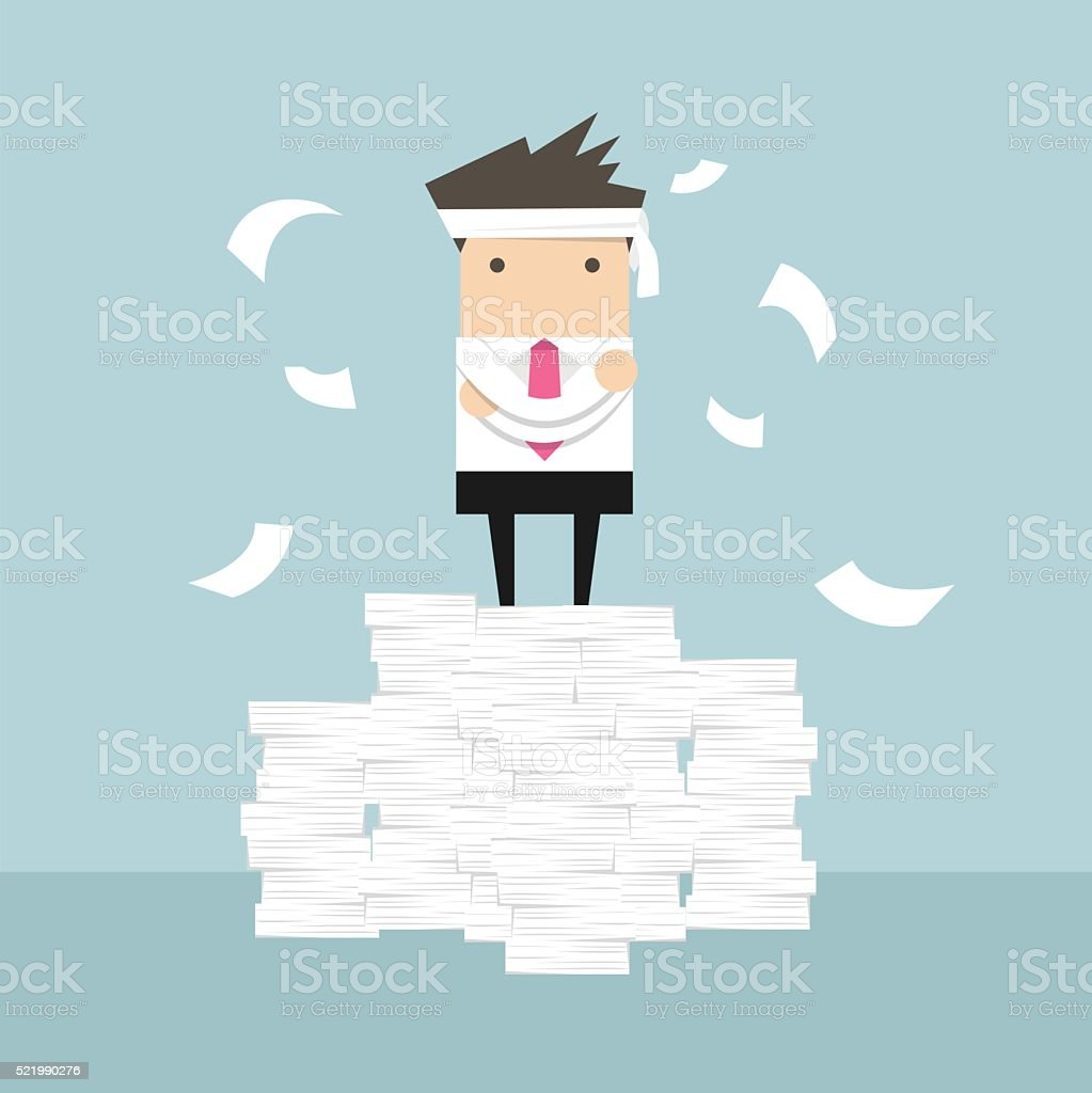 Businessman standing on paperwork vector art illustration