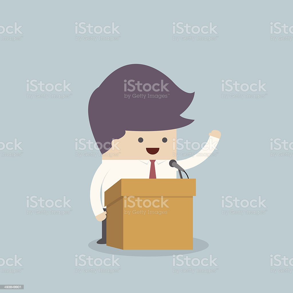 Businessman standing on podium and giving a speech vector art illustration