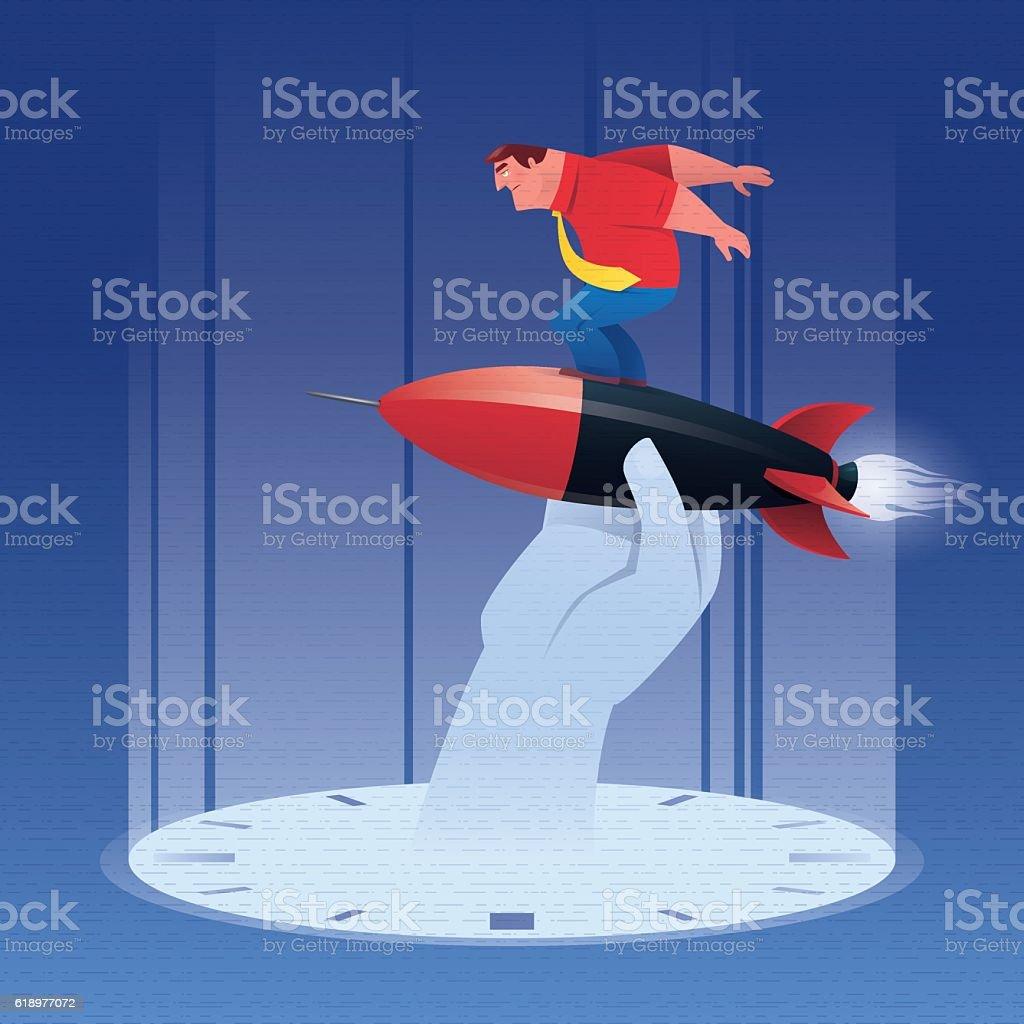 businessman standing on rocket vector art illustration