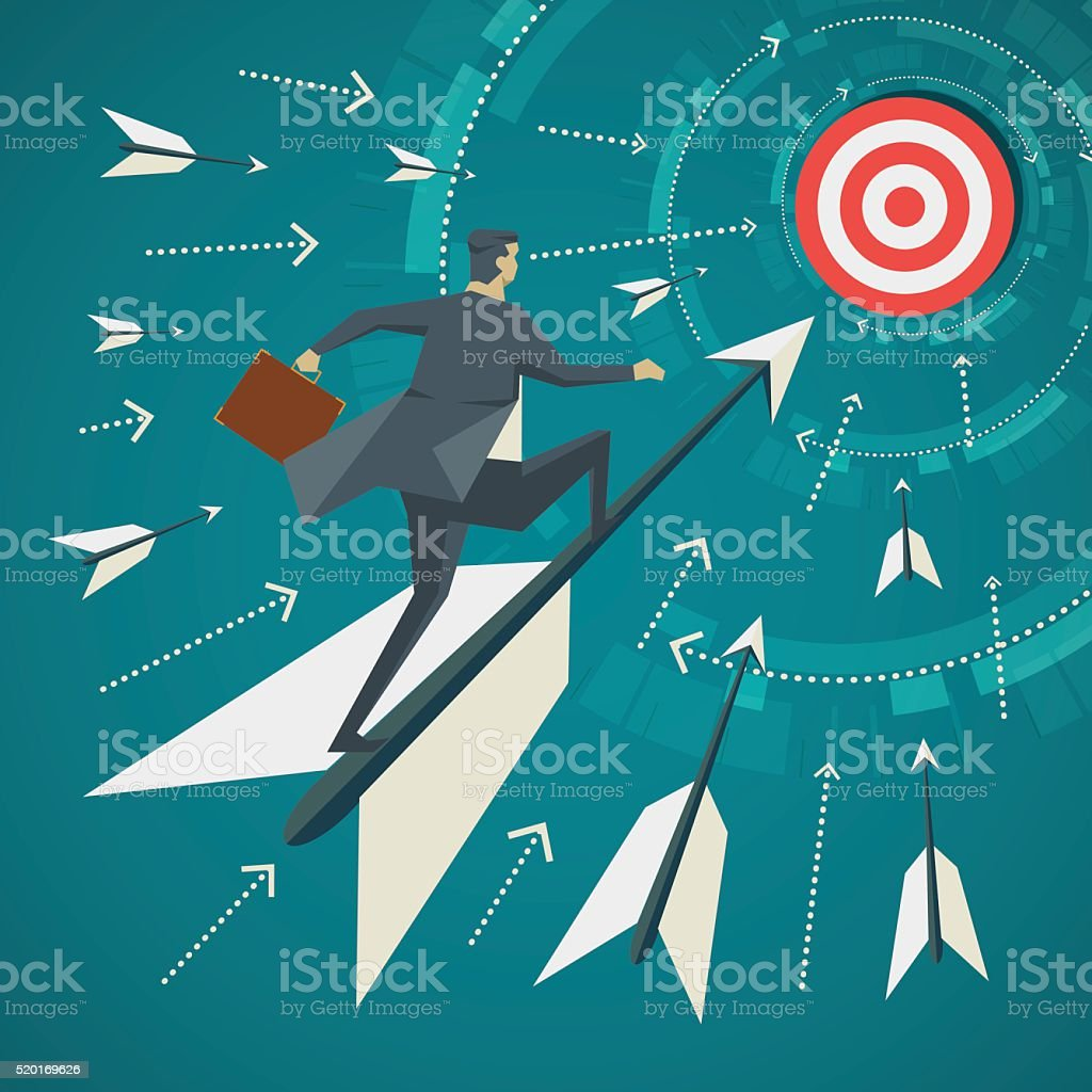 Businessman standing on the arrows vector art illustration