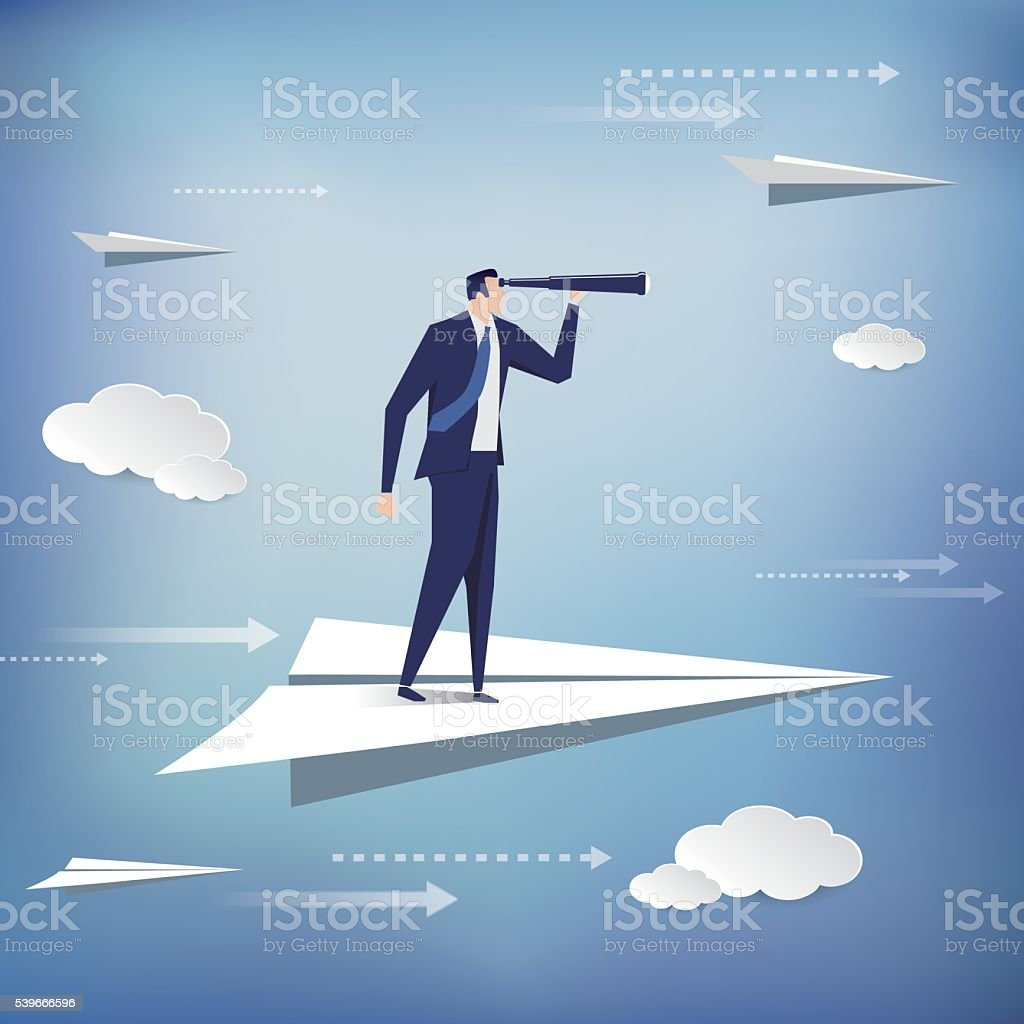 Businessman standing on the paper plane vector art illustration