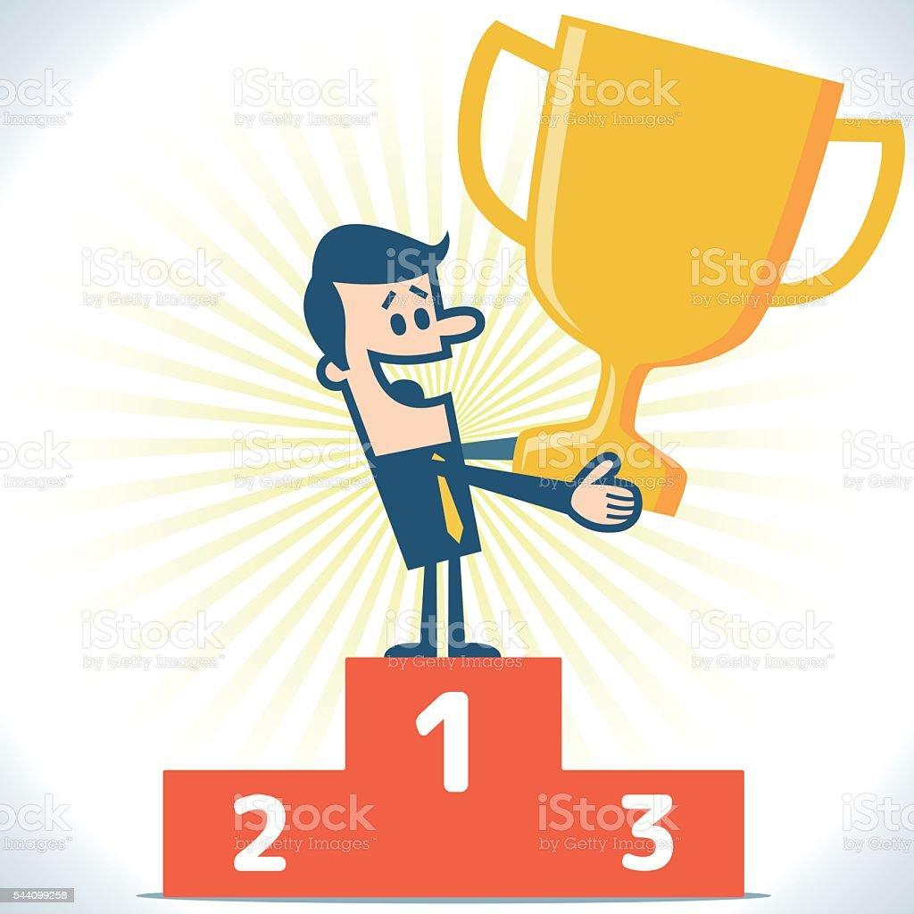 Businessman standing on the winning podium vector art illustration
