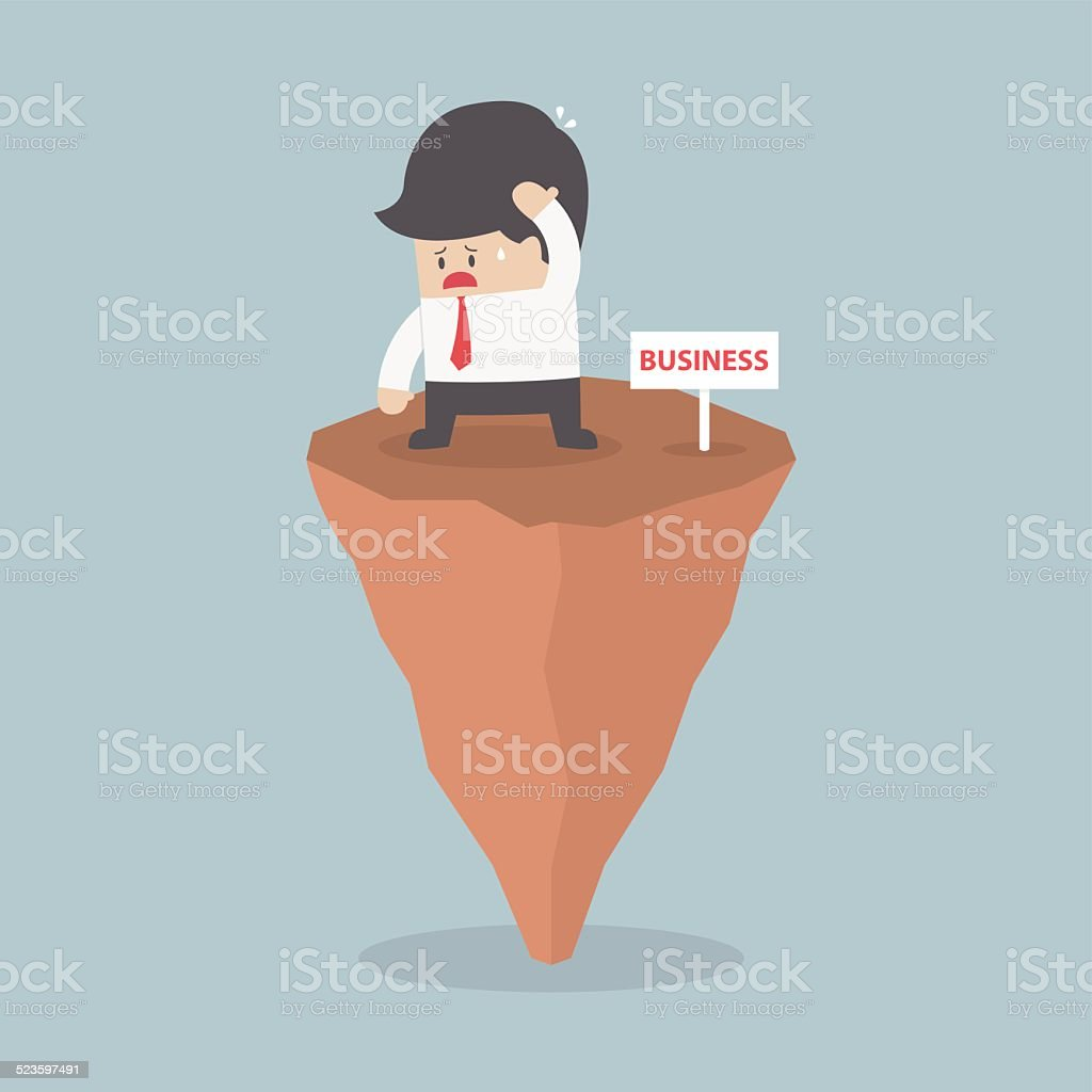 Businessman standing on unstable rock, Business risk concept vector art illustration