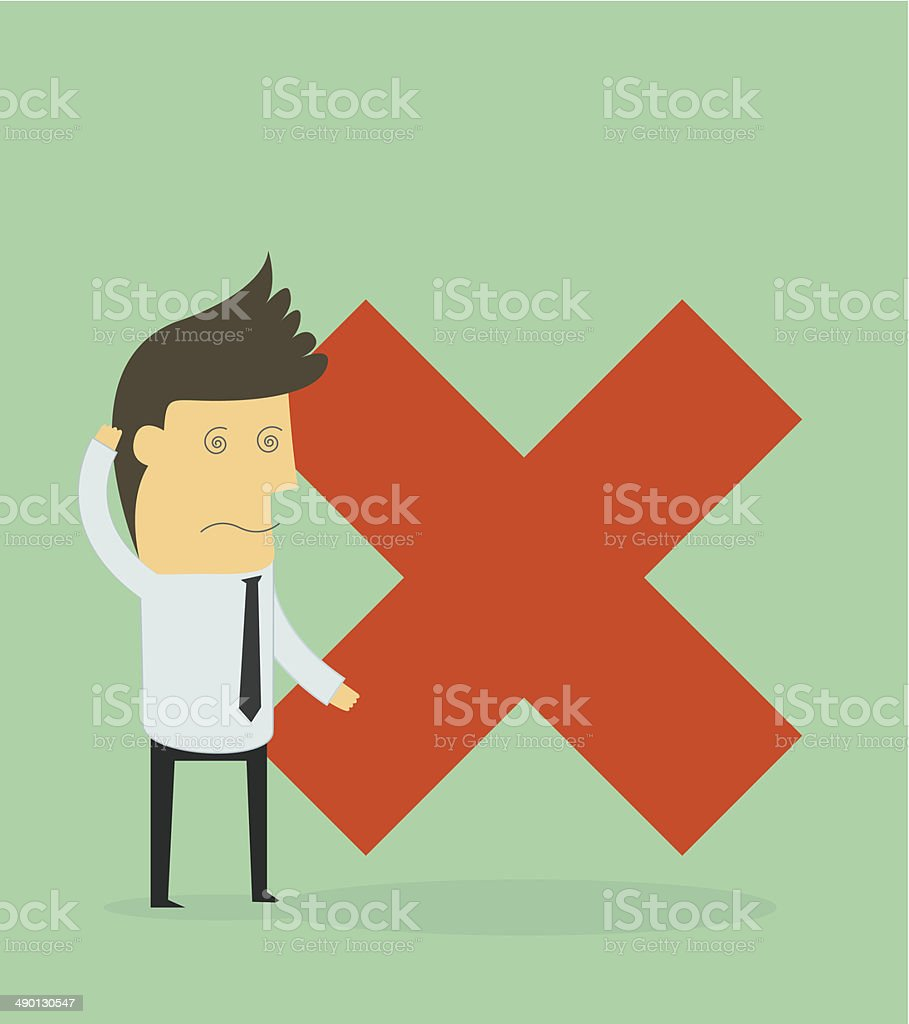 businessman standing with a cross sign vector art illustration