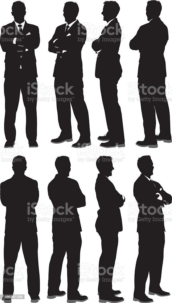 Businessman standing with arms crossed vector art illustration