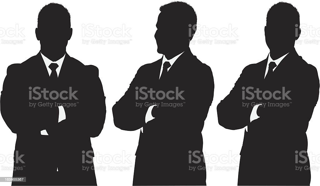 Businessman standing with his arms crossed vector art illustration