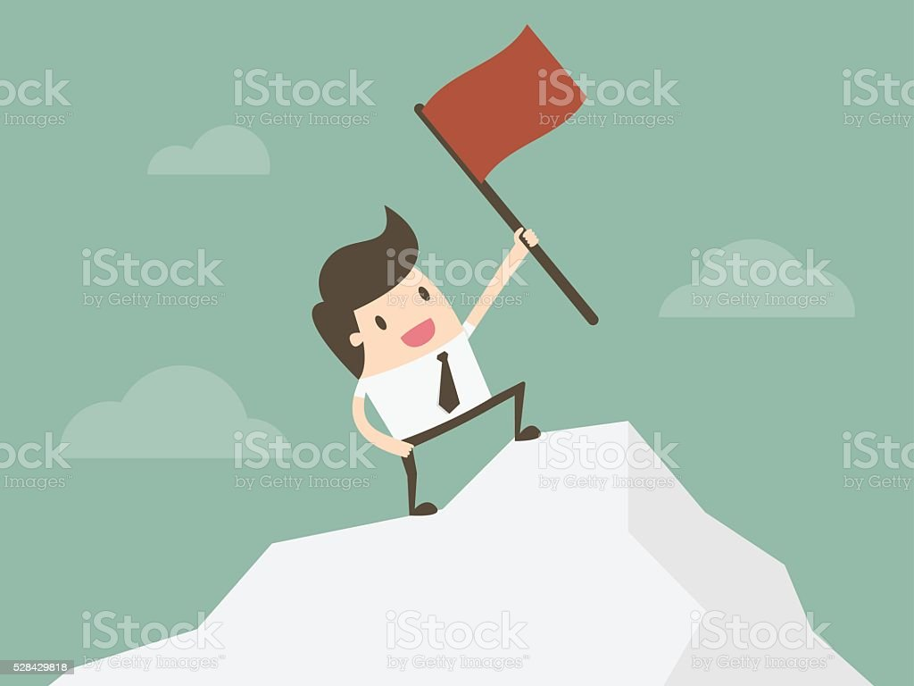 Businessman standing with red flag on mountain peak. vector art illustration