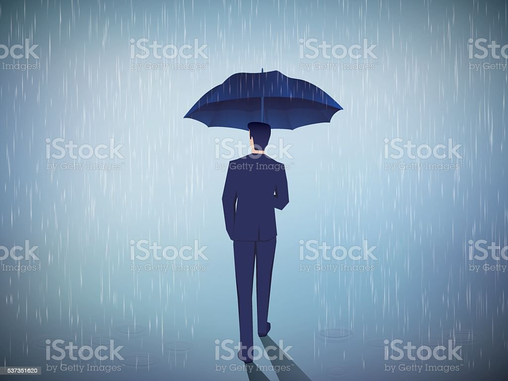 businessman standing with umbrella vector art illustration