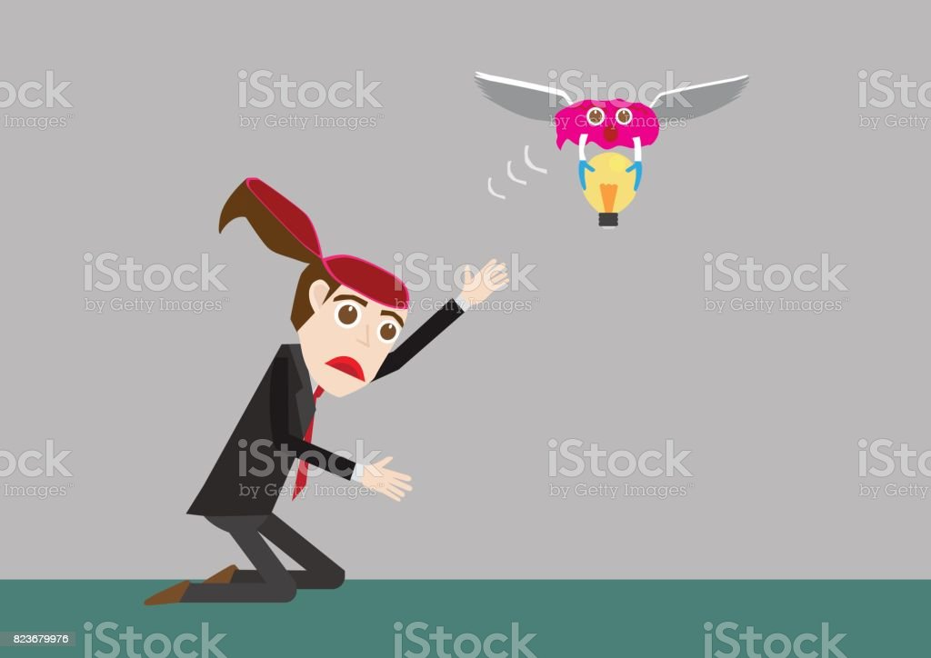Businessman stealing idea by brain vector art illustration