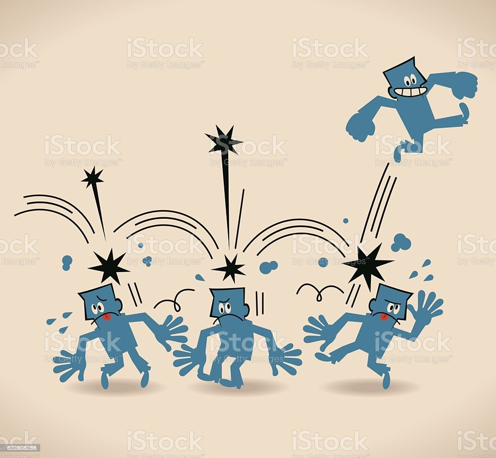Businessman stepping on (over) other people head to success vector art illustration