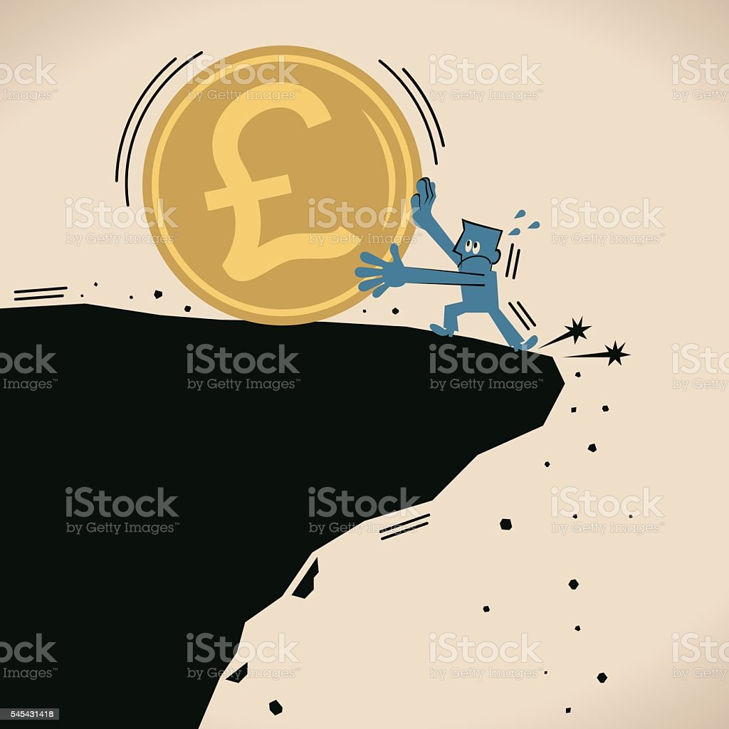 Businessman stopping big Pound currency coin falling off a cliff vector art illustration