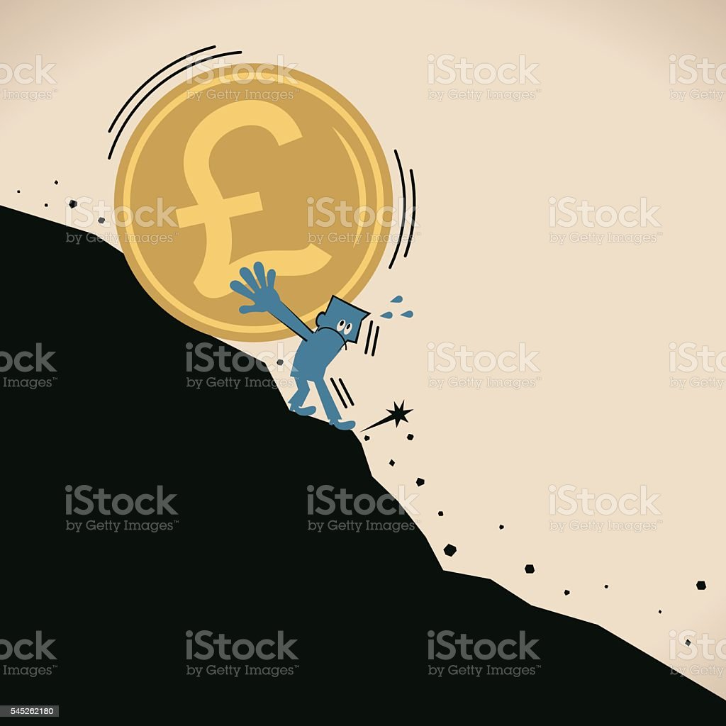 Businessman stopping the recession danger falling Pound currency coin (landslide) vector art illustration