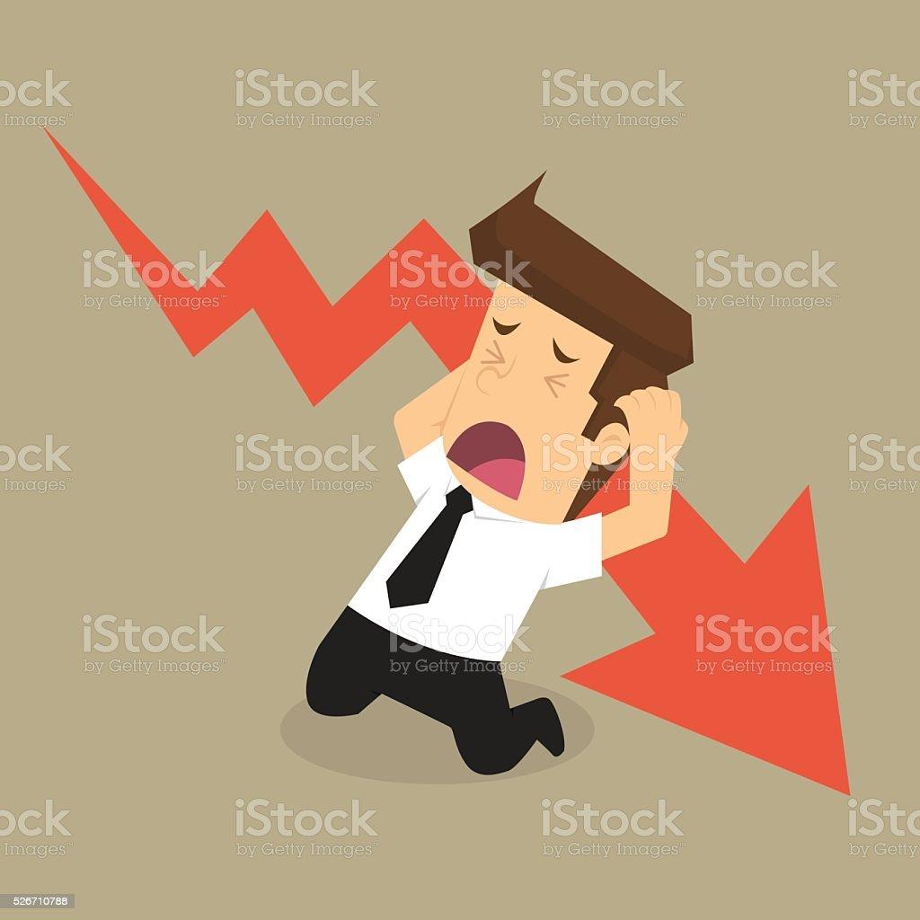 businessman stress, fall vector art illustration