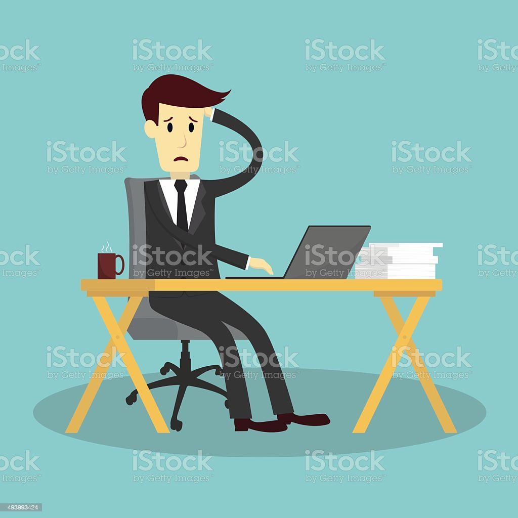 businessman stressed and exhausted vector art illustration